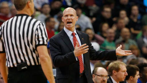 Seton Hall coach Kevin Willard argues with a referee during the first half of a first-round game against Gonzaga on Thursday, March 17, 2016, in the NCAA men's college basketball tournament in Denver.  (AP Photo/Brennan Linsley)