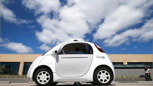 Google's self-driving car is shown during a May 13, 2015, demonstration at the Google campus in Mountain View, Calif.