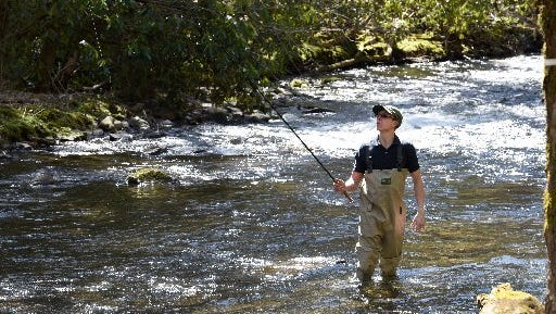 Alex Bermuda fishing in the Little River along the road to Elkmont Campgrounds on Tuesday, Mar. 15, 2016, in the Great Smoky Mountains National Park.