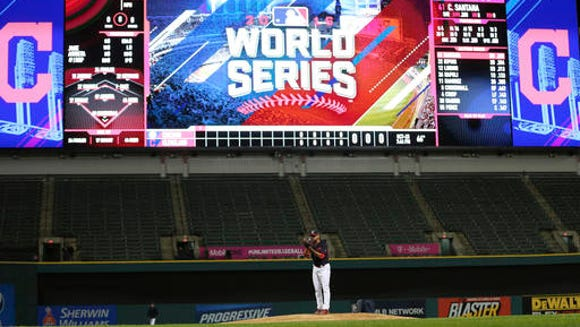 Cleveland Indians' Danny Salazar pitches a simulated