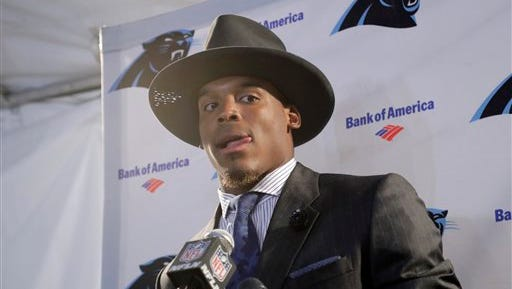 Carolina Panthers quarterback Cam Newton attends a news conference after an NFL football game against the Los Angeles Rams, Sunday, Nov. 6, 2016, in Los Angeles. The Panthers won 13-10. (AP Photo/Jae C. Hong)