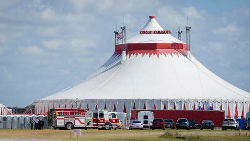 Five people were injured Wednesday, Feb. 8, 2017,  in Sarasota, Fla., while rehearsing the final act, an eight person pyramid on a high wire, for the upcoming Circus Sarasota show Synergy.  (Rachel S. O'Hara/Sarasota Herald-Tribune via AP)