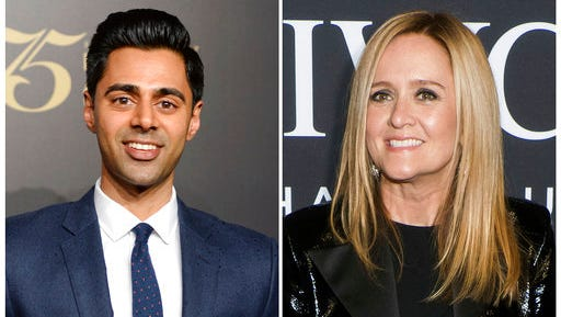 "In this combination photo, Hasan Minhaj attends the 75th Annual Peabody Awards Ceremony on May 21, 2016, in New York, left, and Samantha Bee attends the IWC Schaffhausen Tribeca Film Festival event on April 20, 2017, in New York. On Saturday, April 29, Minhaj hosted the annual White House Correspondents' Dinner in Washington Saturday while Bee helmed the ""Not the White House Correspondents' Dinner."""