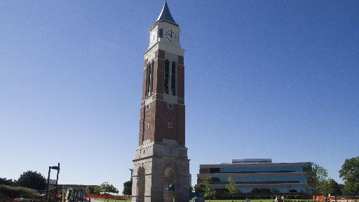 This Aug. 28, 2014, photo shows the Elliott Tower on the campus of Oakland University in Oakland County. An event is scheduled for Friday, Sept. 19, 2014, to dedicate the bell tower in the heart of campus.