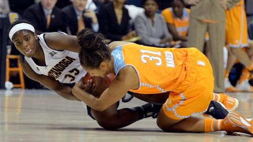 Chattanooga guard Aryanna Gilbert (35) fights for the ball with Tennessee's Jaime Nared (31) in the first half Wednesday in Chattanooga.