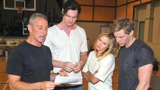"This image released by Davidson & Choy Publicity shows, from left, Adam Shankman, Benjamin Walker, Kristen Bell, and Hunter Parrish during a rehearsal for the musical ""Hair."""
