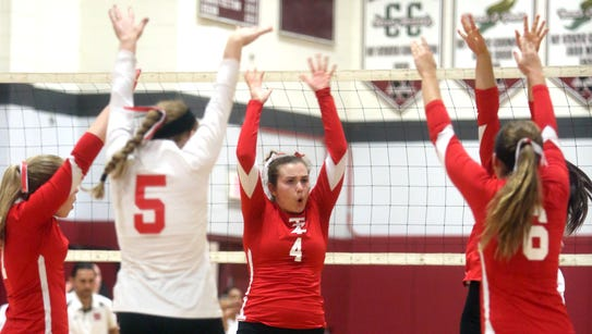 Tappan Zee celebrates a point during a varsity volleyball