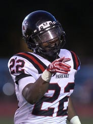 Parkway's Robert McKnight (22) celebrates his touchdown