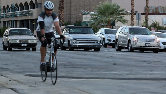 Northbound one way traffic on Indian Canyon Drive in Palm Springs on Wednesday, October 1, 2014.