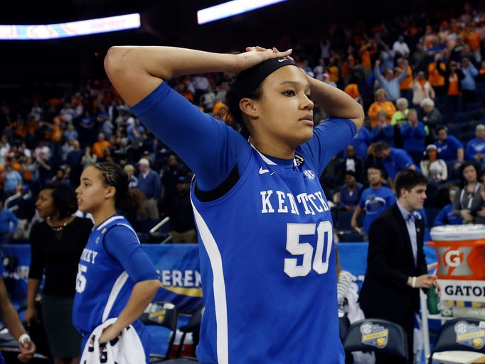 Kentucky's Azia Bishop (50) reacts after their loss to Tennessee in an NCAA college basketball game in the finals of the Southeastern Conference women's basketball tournament Sunday, March 9, 2014, in Duluth, Ga. Tennessee  won 71-70. (AP Photo/Jason Getz)