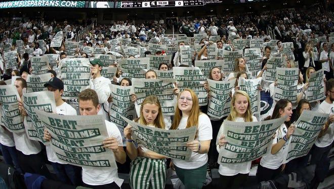 Nov 30, 2017; East Lansing, MI, USA; Michigan State Spartans student section prior to a game against the Notre Dame Fighting Irish at the Breslin Center.