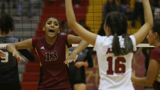 El Dorado's Ebonie Ballesteros celebrates an Aztec point Tuesday.