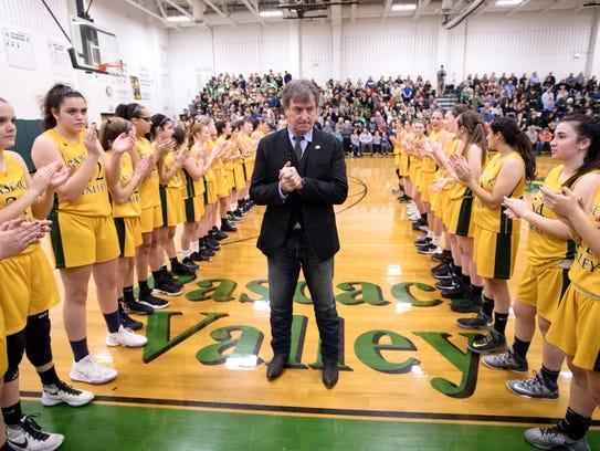 Pascack Valley girls basketball coach Jeff Jasper before