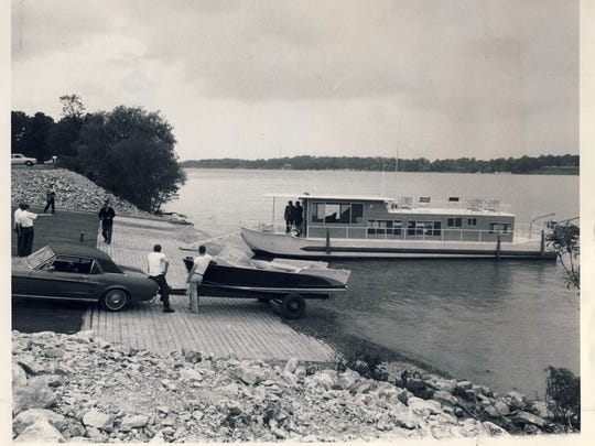 OPEN FOR BUSINESS:  A new boat-launching ramp at Carrie Gaulbert Cox Park has been constructed by the U. S. Army Corps of Engineers.   May 15, 1968