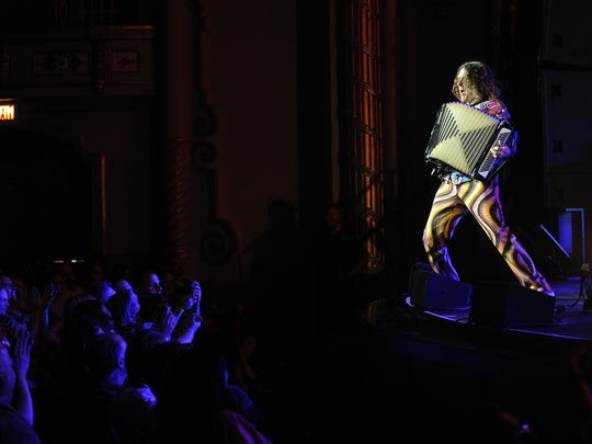 Weird Al Yankovic performs polka versions of hit pop songs in 2015.