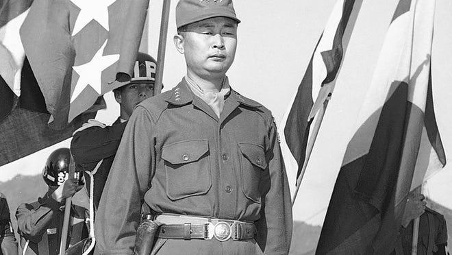 General Matthew B. Ridgway; Gen. John Hull; Gen.Maxwell  Taylor and Gen. Sun Yup Paik on the reviewing stand in Korea on Oct. 29, 1953.