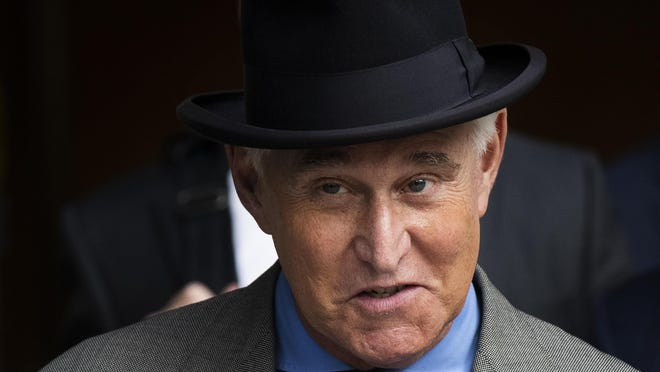 "Roger Stone leaves the federal court Washington, Tuesday, Nov. 12, 2019. Roger Stone, a longtime Republican provocateur and former confidant of President Donald Trump, wanted to contact Jared Kushner in order to ""debrief"" the president's son-in-law about hacked emails that were damaging to Hillary Clinton during the 2016 presidential campaign, a former Trump campaign aide said Tuesday."