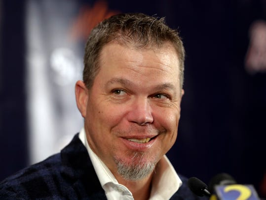 FILE - In this Jan. 24, 2018, file photo, former Atlanta Braves third baseman Chipper Jones listens to a question during a news conference after it was announced he had been elected to the baseball Hall of Fame, in Atlanta. Chipper Jones will serve as an honorary race official for the Daytona 500 on Sunday, Feb. 18, 2018. As part of his race-day duties, Jones will be introduced at the drivers' meeting, take a lap around Daytona International Speedway in a parade car and participate in question-and-answer sessions with fans.(AP Photo/John Bazemore, File)