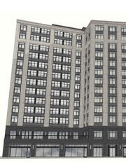 "A drawing of a planned micro-lofts project at 28 W. Grand River in downtown Detroit. The 13-story building could have about 220 ""micro lofts"" ranging from 300 square feet to 400 square feet."