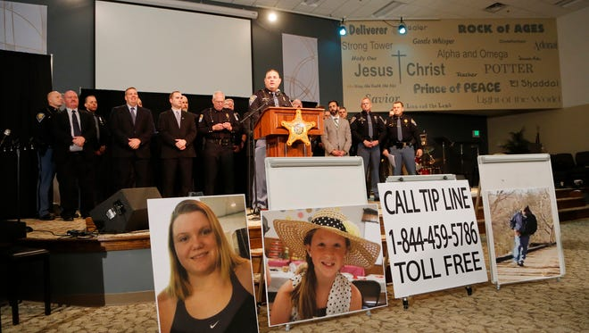 Sgt. Tony Slocum of the Indiana State Police is joined by law enforcement officials from numerous departments to provide the latest details of the investigation into the murders of Liberty German and Abigail Williams Wednesday, February 22, 2017, at Delphi United Methodist Church in Delphi. German and Williams murdered last week as they hiked the Monon High Bridge Trail just east of Delphi. Police released an audio clip believed to be that of the girl's killer taken from Liberty German's cellphone. one.