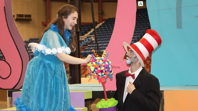 "Haley Jackson is Gertrude and Aidan Brooks is the Cat in the Hat in the San Angelo Broadway Academy's production of ""Seussical the Musical."""