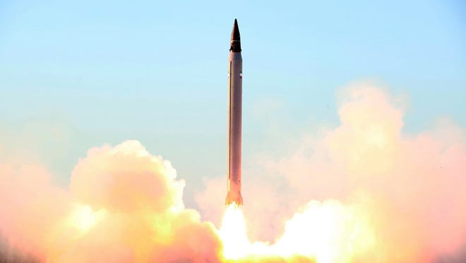 This undated picture released on October 11, 2015 by the Iranian Defense Ministry on their website reportedly shows the launch of an Imad missile during tests at an undisclosed location in Iran.