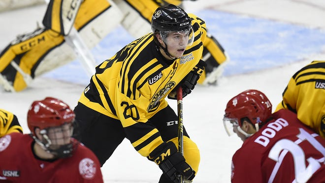 Former Green Bay Gamblers defenseman Andrew Peeke (20) was chosen by the Columbus Blue Jackets in the second round of the NHL draft on Saturday.