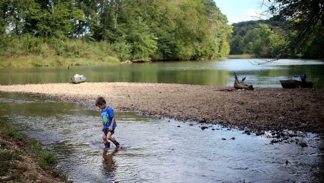 Landon Tramel, 4,plays on the banks of the Buffalo River on Oct. 1, 2016. Gov. Bill Haslam wants to gauge water quality statewide.