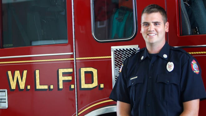 Firefighter Curtis Shidler of the West Lafayette Fire Department Tuesday, June 27, 2017, at Station No. 3 in West Lafayette. Shidler lost his left eye while lighting fireworks two years ago.