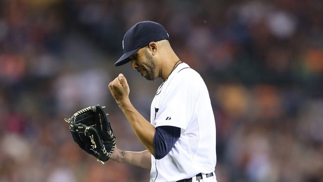 Tigers pitcher David Price walks back to the dugout after the final out of the eighth inning of the Tigers' 4-0 win Friday at Comerica Park.