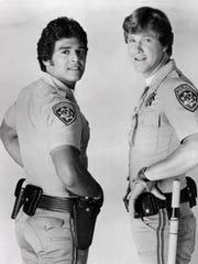 Erik Estrada (left) and Larry Wilcox in 1977's 'CHiPs.'