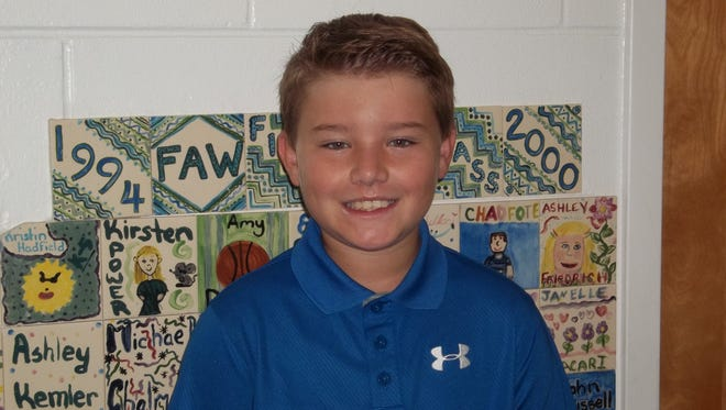 Preston Honea of Felix A. Williams Elementary School was named the Character Counts! Student of the Week.