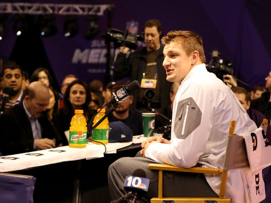 The New England Patriots Rob Gronkowski during the NFL Super Bowl Media Day on Tuesday, January 27, 2015 in Phoenix. (AP Photo/Gregory Payan)