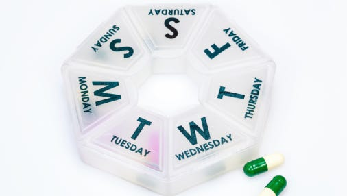 A daily pill box can help you to keep track of medications.