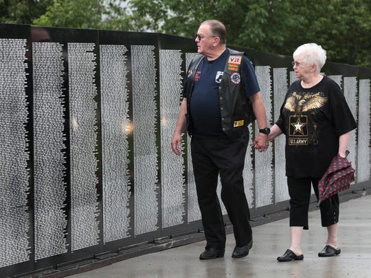 In this 2015 file photo, Ken and Darrelene Johnson visit the Vietnam Traveling Memorial Wall at Post 639. The wall is returning to Post 639 and will be on display Thursday through Sunday.