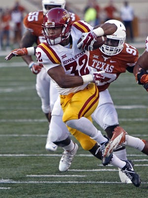 In this Oct. 15, 2016, Iowa State running back David Montgomery (32) runs during the first half of an NCAA college football game against Texas, in Austin, Texas. Montgomery averaged 5.2 yards per carry and closed the season with 141 yards against West Virginia.