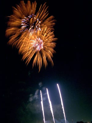 Fireworks light up the sky over Elmira's Eldridge Park, one of the many places to see July 4th celebrations this weekend and next week.