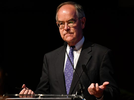 "Congressman Jim Cooper addresses the audience during a Civility Tennessee discussion called ""Why Aren't Tennesseans Voting Like They Should"" at Lipscomb University on Aug. 27."