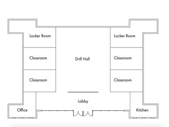 Proposed interior view depicting classrooms and main