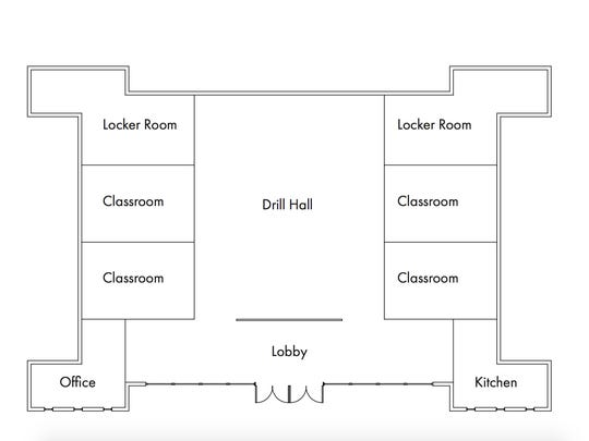 Proposed interior view depicting classrooms and main hall, which will be available to the community.