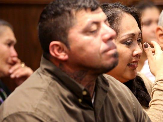 Members of the family of Heriberto Saenz, including