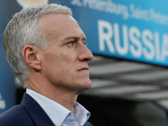 France's head coach Didier Deschamps awaiting the kickoff during the international friendly soccer match between Russia and France at the Saint Petersburg stadium in St.Petersburg, Russia, Tuesday, March 27, 2018. (AP Photo/Dmitri Lovetsky)