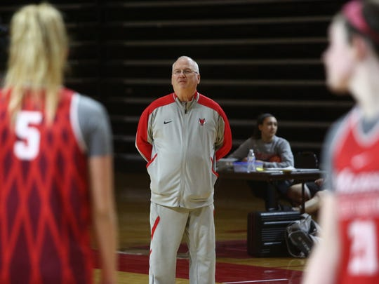 Marist women's basketball head coach, Brian Giorgis talks to his players during practice on Tuesday, March 13, 2018.