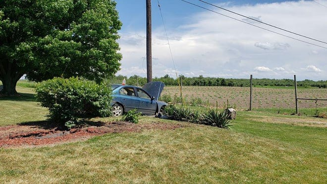 At 3 p.m. June 21, Ronald Township firefighters were dispatched to a crash on North State Road south of M-44 in the yard of a residence on the east side of the road.