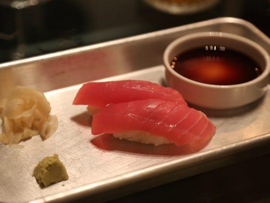 Tuna nigiri made by former Townhouse sushi chef Rob