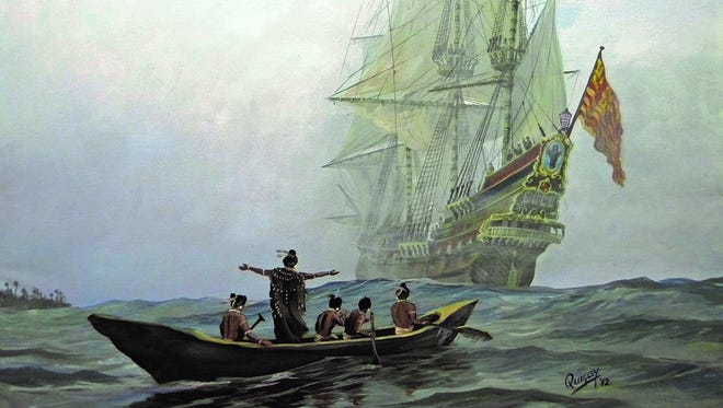 "This painting by Dean Quigley, ""Primer Encuentro,"" reimagines the first meeting of Spaniards and Calusa in Southwest Florida"