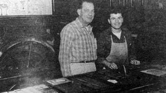 """Pictured, right, is Frank """"Speedy"""" Gonzalez with the former owner of The Dickson Herald, Leland """"Pete"""" Ishmael in the paper's composition room. Gonzales died this weekend at age 81."""