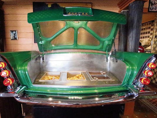 Rudy Gutierrez—El Paso Times A chips and salsa bar made from the back end of an old car inside the new Chuy's Mexican Food restaurant at the Fountains at Farah.