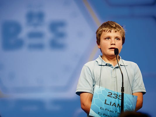 Liam Nyikos, 10, of Carlsbad, participates in round two of the preliminaries of the 2015 Scripps National Spelling Bee on May 27, 2015 at the Gaylord National Resort and Convention Center in National Harbor, Maryland.