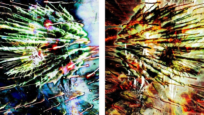 """""""Fire-Works #6 and #13"""" by Tom and Lois White."""